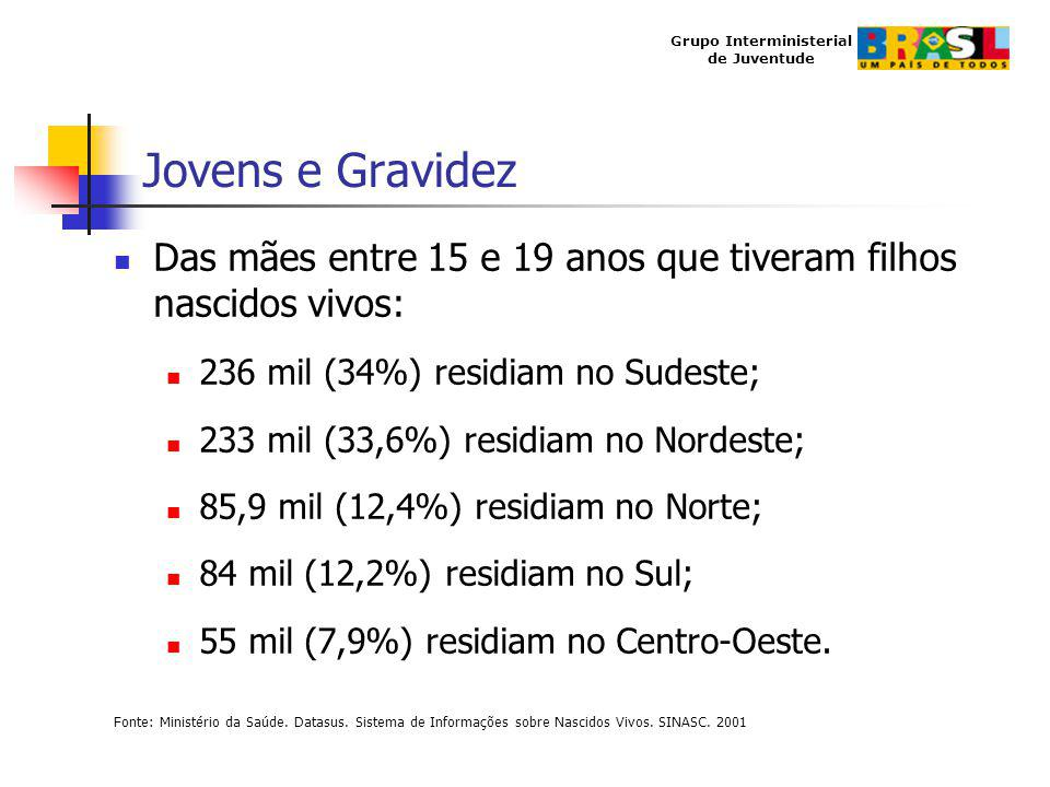 Jovens e Gravidez Das mães entre 15 e 19 anos que tiveram filhos nascidos vivos: 236 mil (34%) residiam no Sudeste;