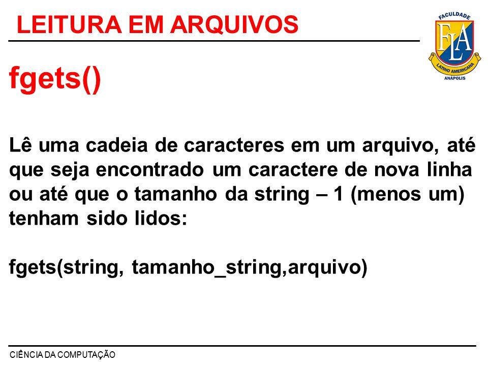 fgets() LEITURA EM ARQUIVOS