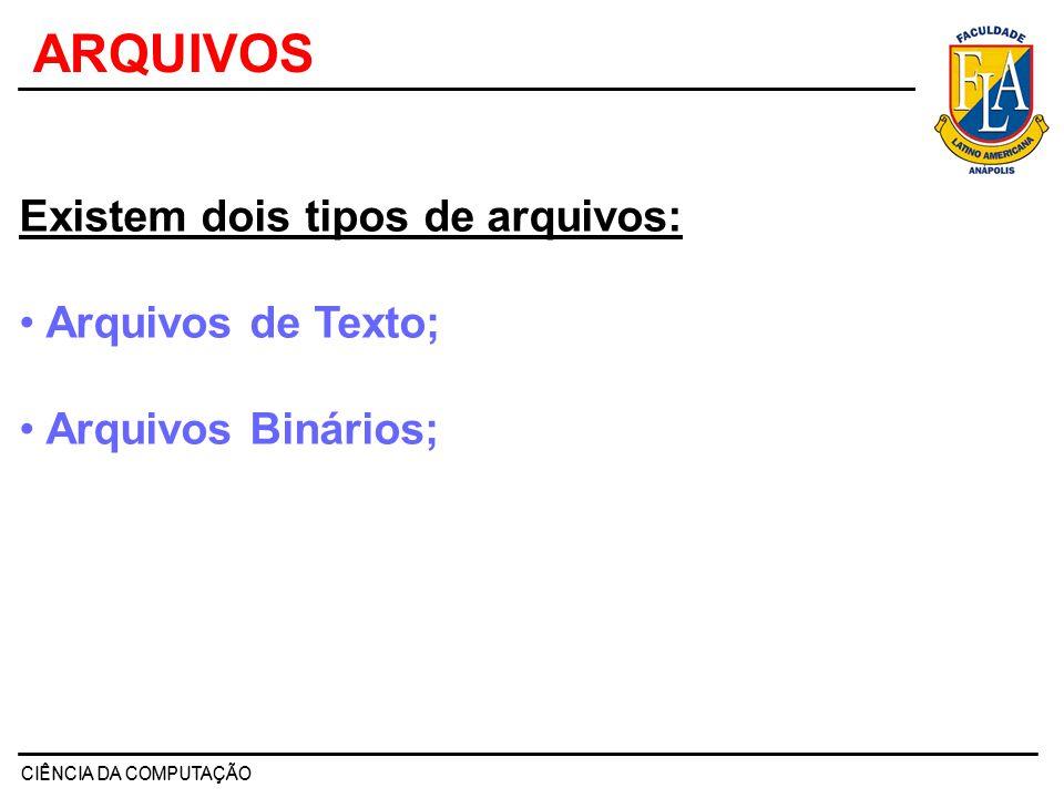 ARQUIVOS Existem dois tipos de arquivos: Arquivos de Texto;
