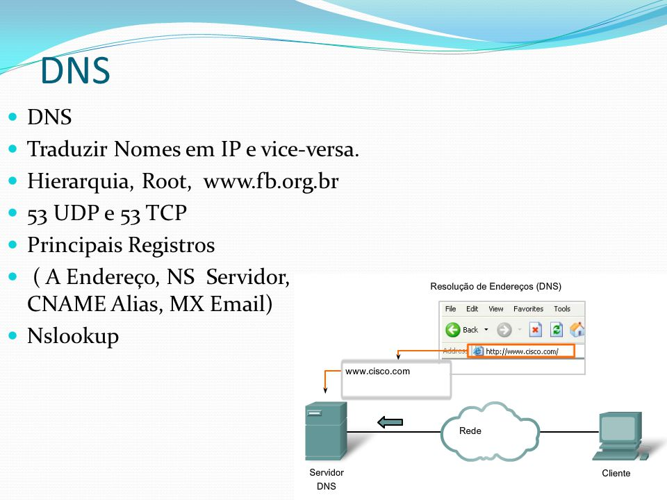 DNS DNS Traduzir Nomes em IP e vice-versa.
