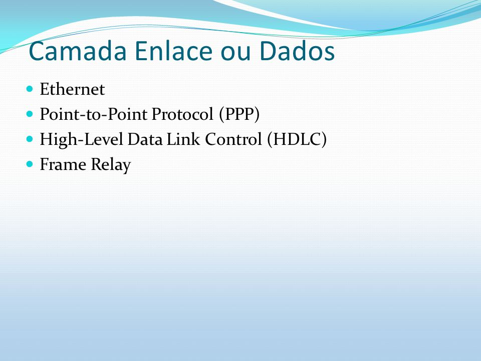 Camada Enlace ou Dados Ethernet Point-to-Point Protocol (PPP)