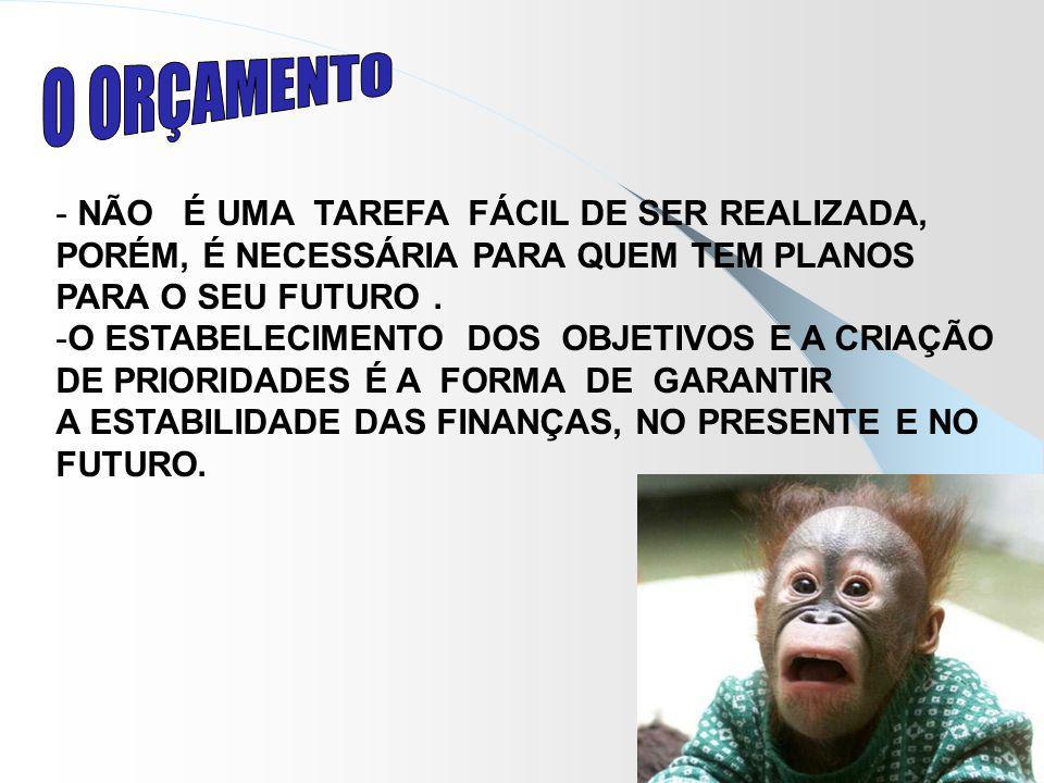 O ORÇAMENTO NÃO É UMA TAREFA FÁCIL DE SER REALIZADA,
