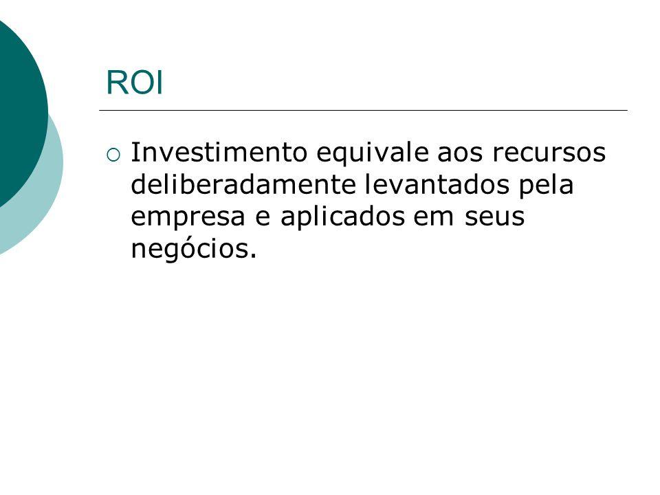 ROI Investimento equivale aos recursos deliberadamente levantados pela empresa e aplicados em seus negócios.