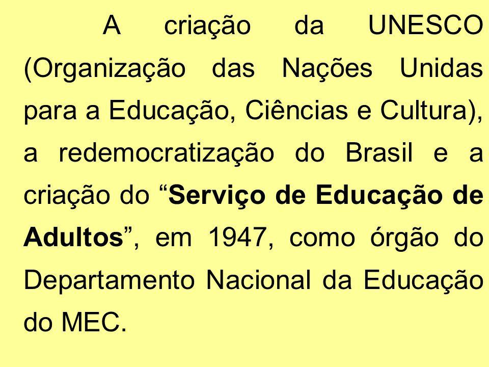 A criação da UNESCO (Organização das Nações Unidas para a Educação, Ciências e Cultura), a redemocratização do Brasil e a criação do Serviço de Educação de Adultos , em 1947, como órgão do Departamento Nacional da Educação do MEC.
