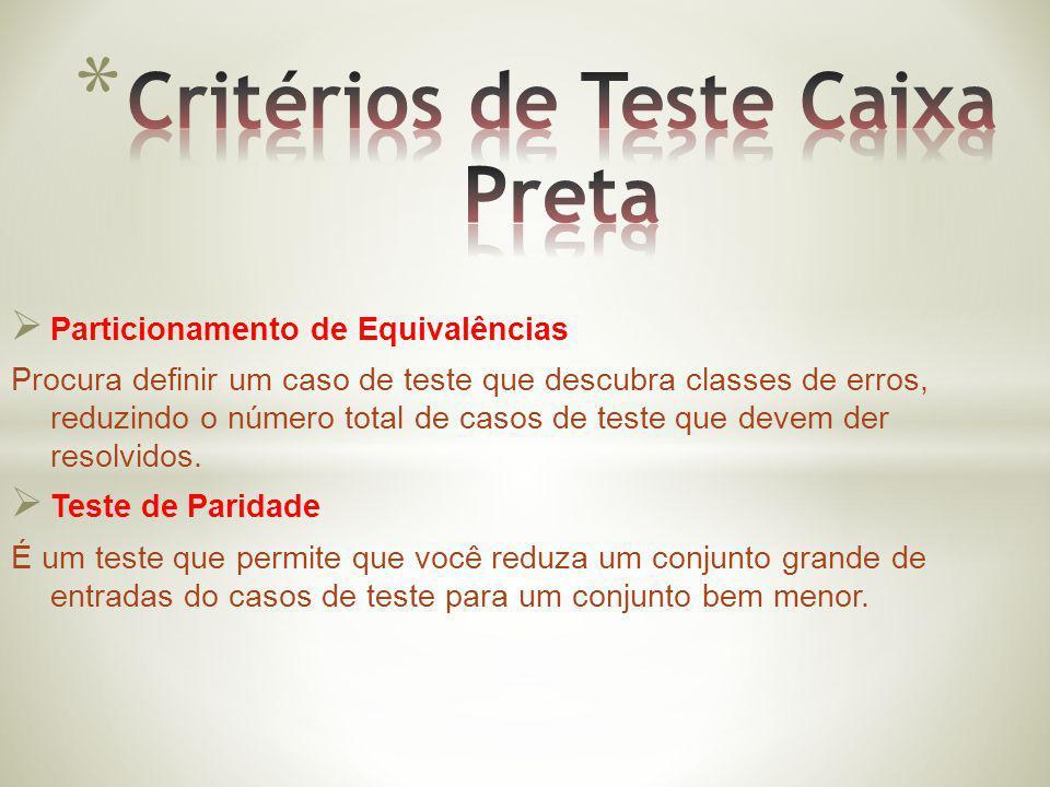 Critérios de Teste Caixa Preta