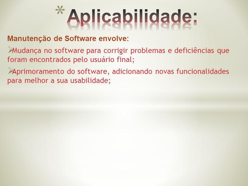 Aplicabilidade: Manutenção de Software envolve: