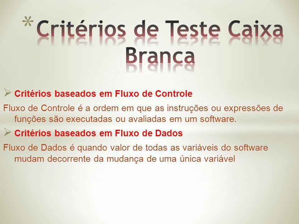 Critérios de Teste Caixa Branca