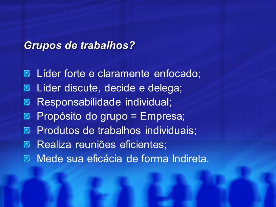 Grupos de trabalhos Líder forte e claramente enfocado; Líder discute, decide e delega; Responsabilidade individual;