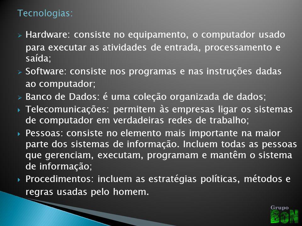 Tecnologias: Hardware: consiste no equipamento, o computador usado. para executar as atividades de entrada, processamento e saída;