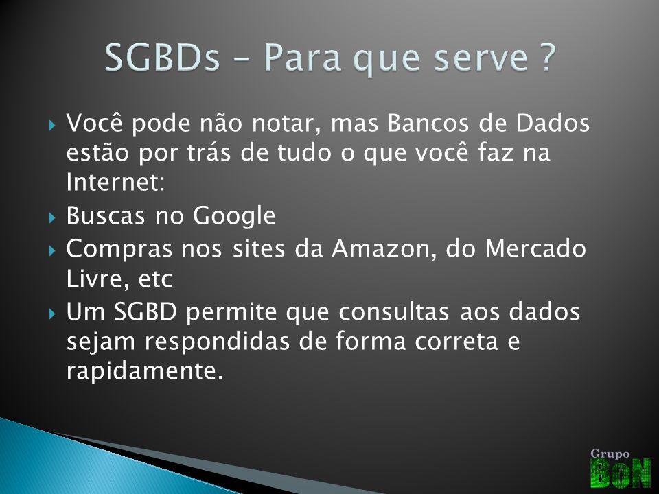 SGBDs – Para que serve Você pode não notar, mas Bancos de Dados estão por trás de tudo o que você faz na Internet: