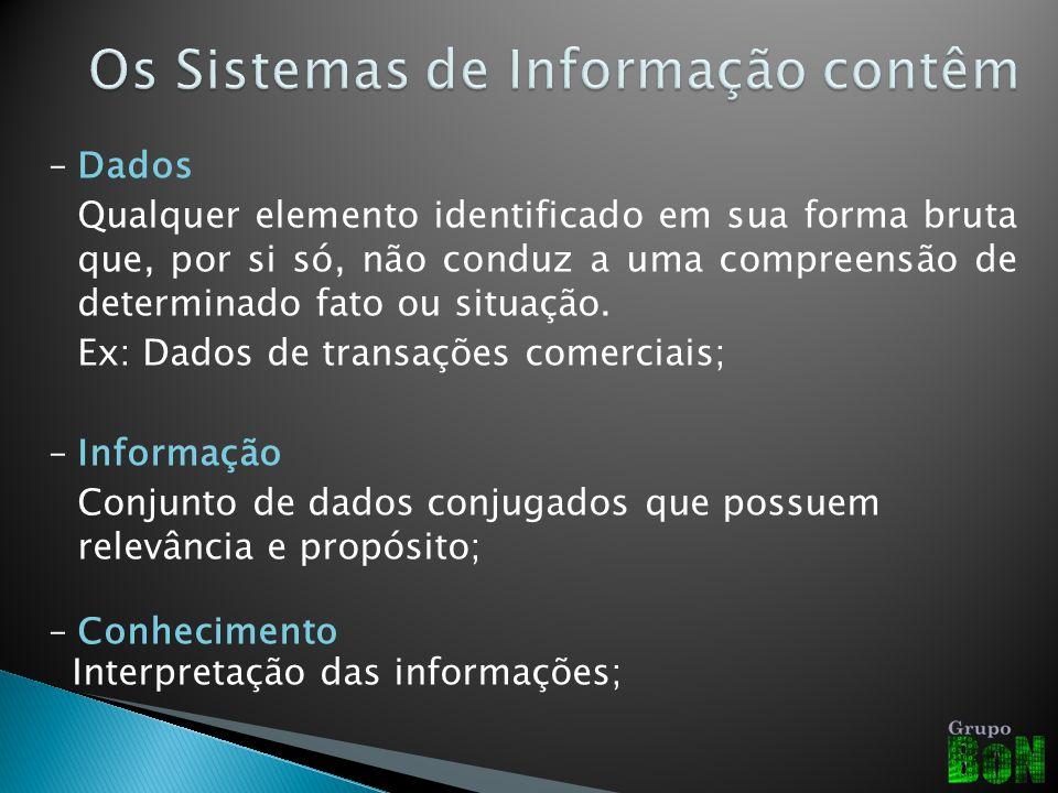 Os Sistemas de Informação contêm