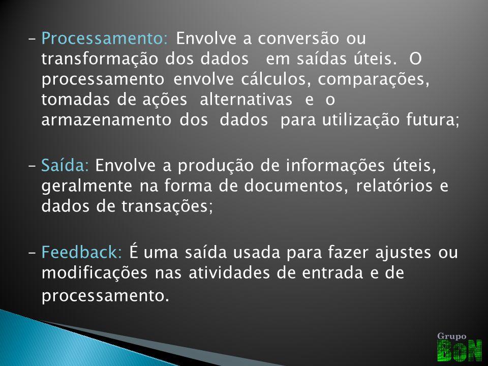 – Processamento: Envolve a conversão ou transformação dos dados em saídas úteis.