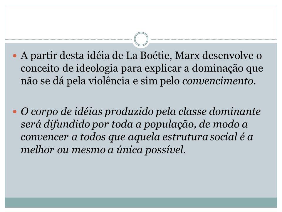 A partir desta idéia de La Boétie, Marx desenvolve o conceito de ideologia para explicar a dominação que não se dá pela violência e sim pelo convencimento.