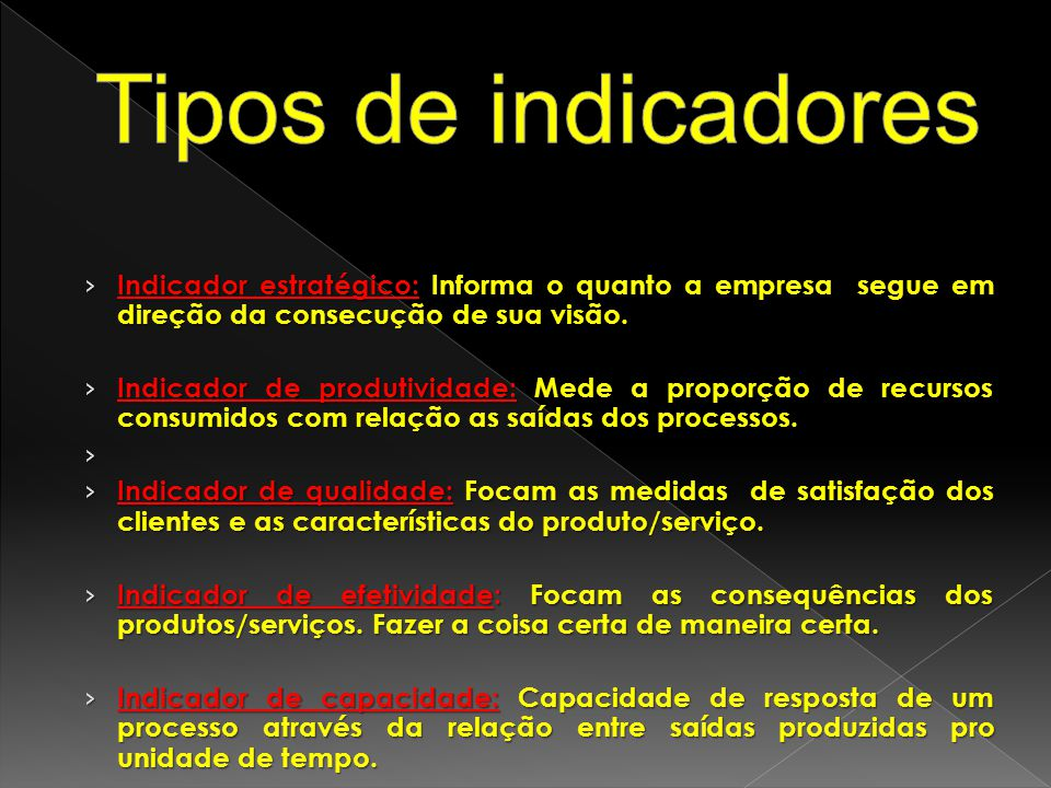 Tipos de indicadores Indicador estratégico: Informa o quanto a empresa segue em direção da consecução de sua visão.