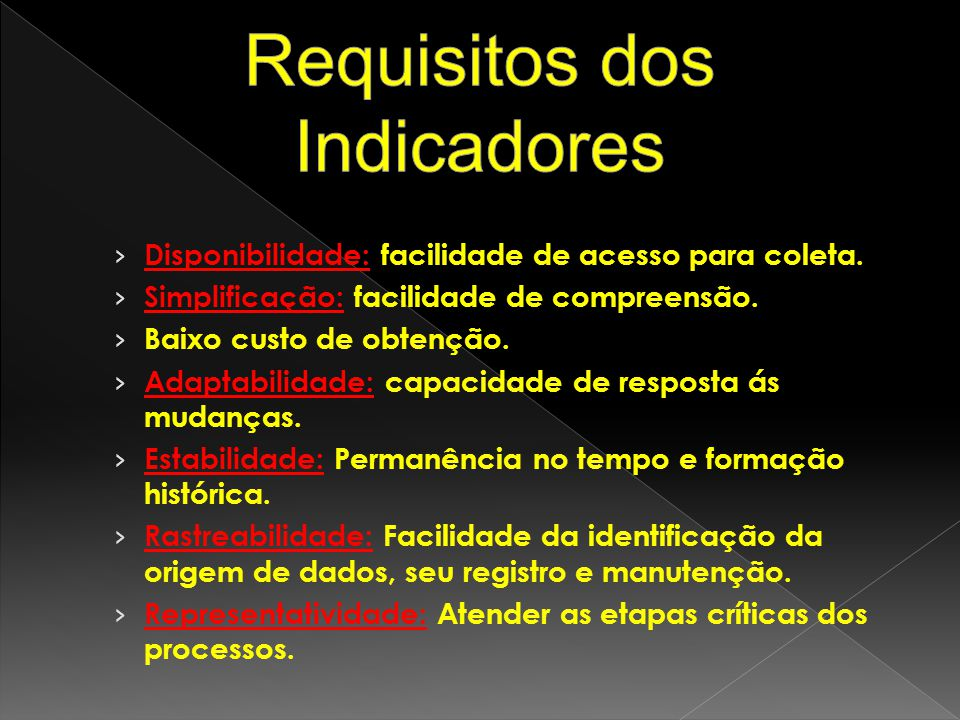 Requisitos dos Indicadores