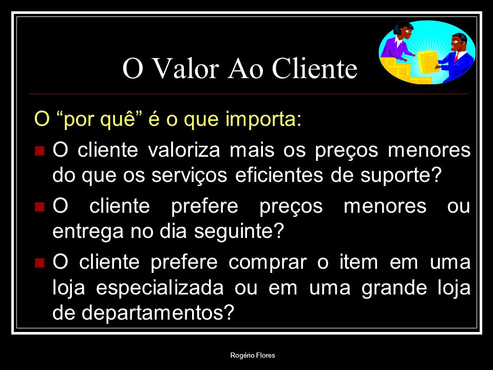 O Valor Ao Cliente O por quê é o que importa: