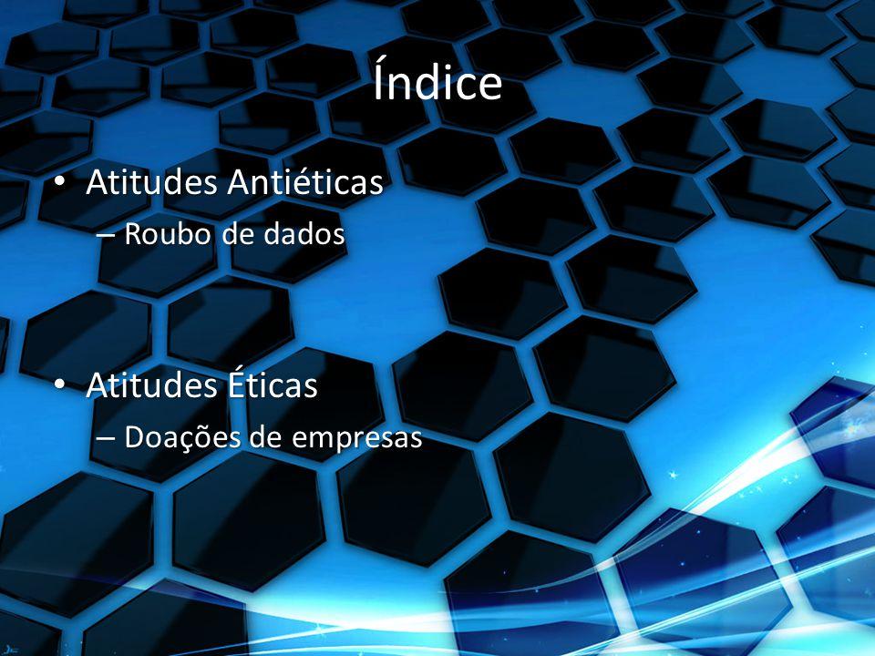 Índice Atitudes Antiéticas Atitudes Éticas Roubo de dados