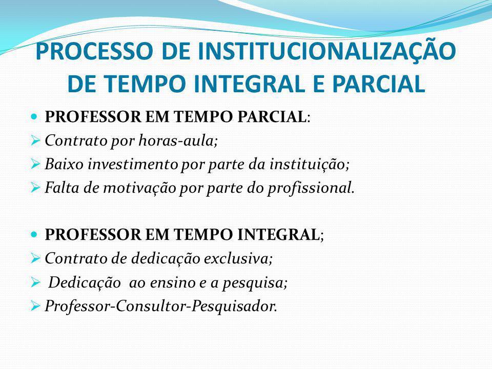 PROCESSO DE INSTITUCIONALIZAÇÃO DE TEMPO INTEGRAL E PARCIAL