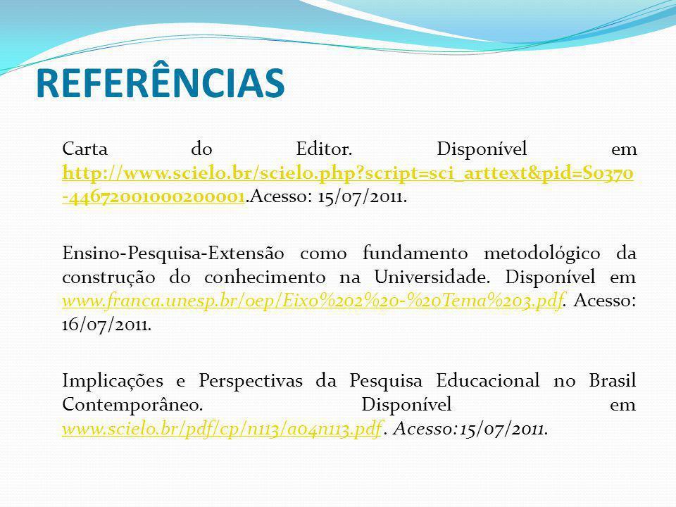 REFERÊNCIAS Carta do Editor. Disponível em http://www.scielo.br/scielo.php script=sci_arttext&pid=S0370-44672001000200001.Acesso: 15/07/2011.