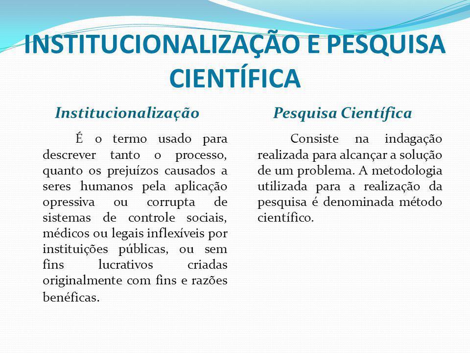 INSTITUCIONALIZAÇÃO E PESQUISA CIENTÍFICA