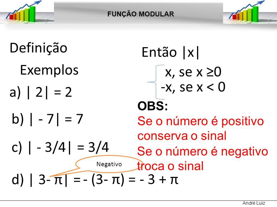Definição Exemplos a) | 2| = 2 Então |x| x, se x ≥0 -x, se x < 0