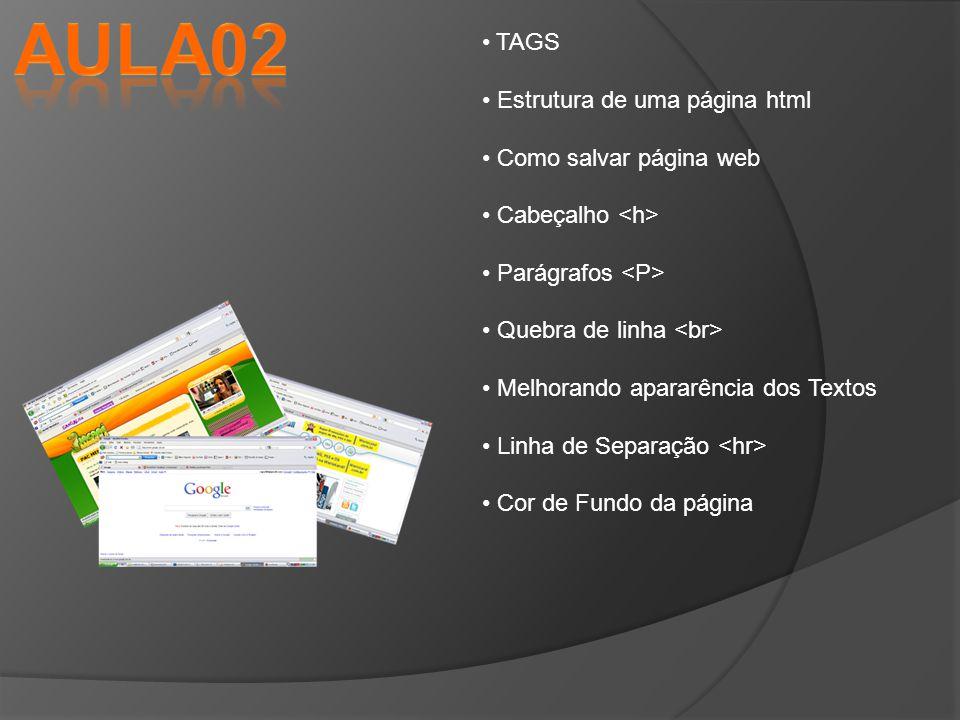 Aula02 TAGS Estrutura de uma página html Como salvar página web