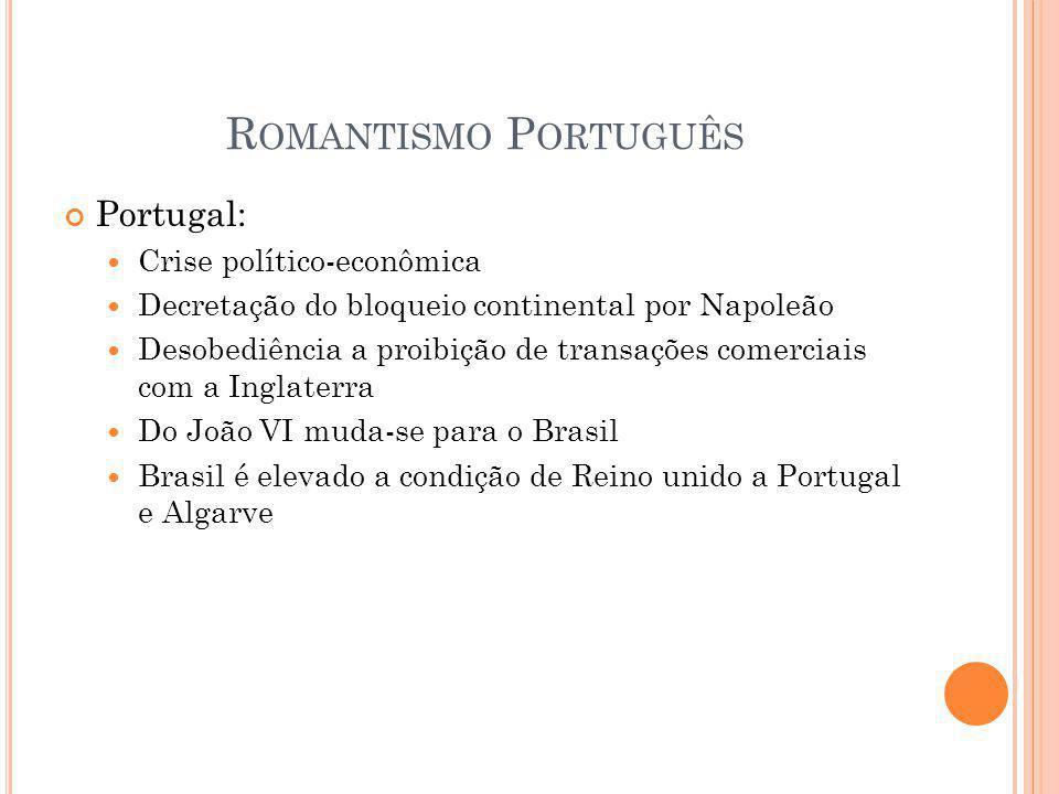 Romantismo Português Portugal: Crise político-econômica