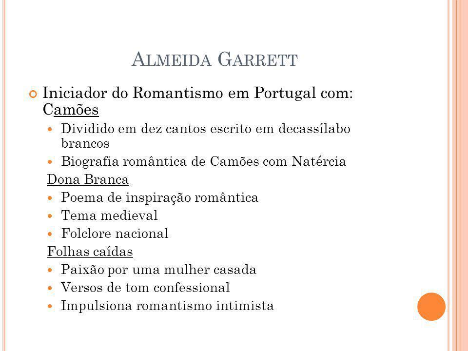 Almeida Garrett Iniciador do Romantismo em Portugal com: Camões
