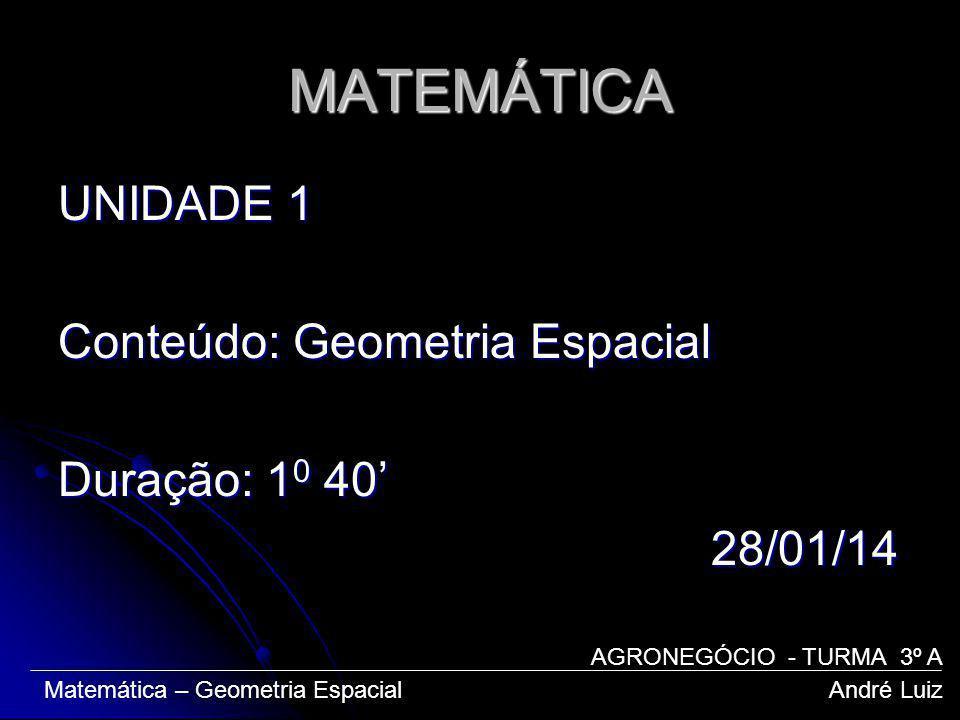 MATEMÁTICA UNIDADE 1 Conteúdo: Geometria Espacial Duração: 10 40' 28/01/14 AGRONEGÓCIO - TURMA 3º A.