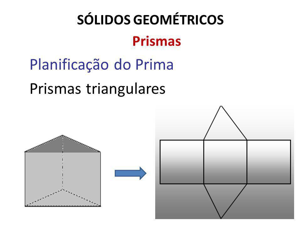 SÓLIDOS GEOMÉTRICOS Prismas Planificação do Prima Prismas triangulares
