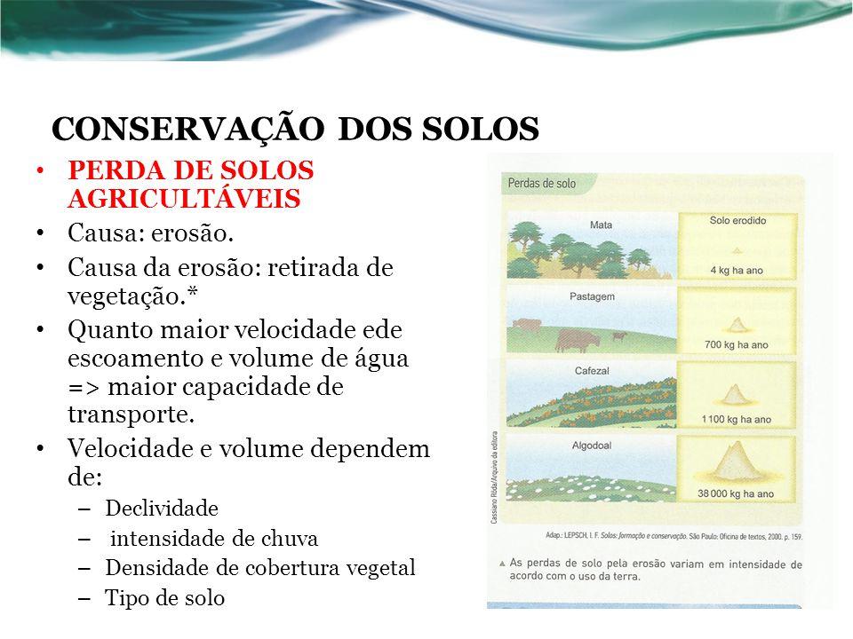 CONSERVAÇÃO DOS SOLOS PERDA DE SOLOS AGRICULTÁVEIS Causa: erosão.