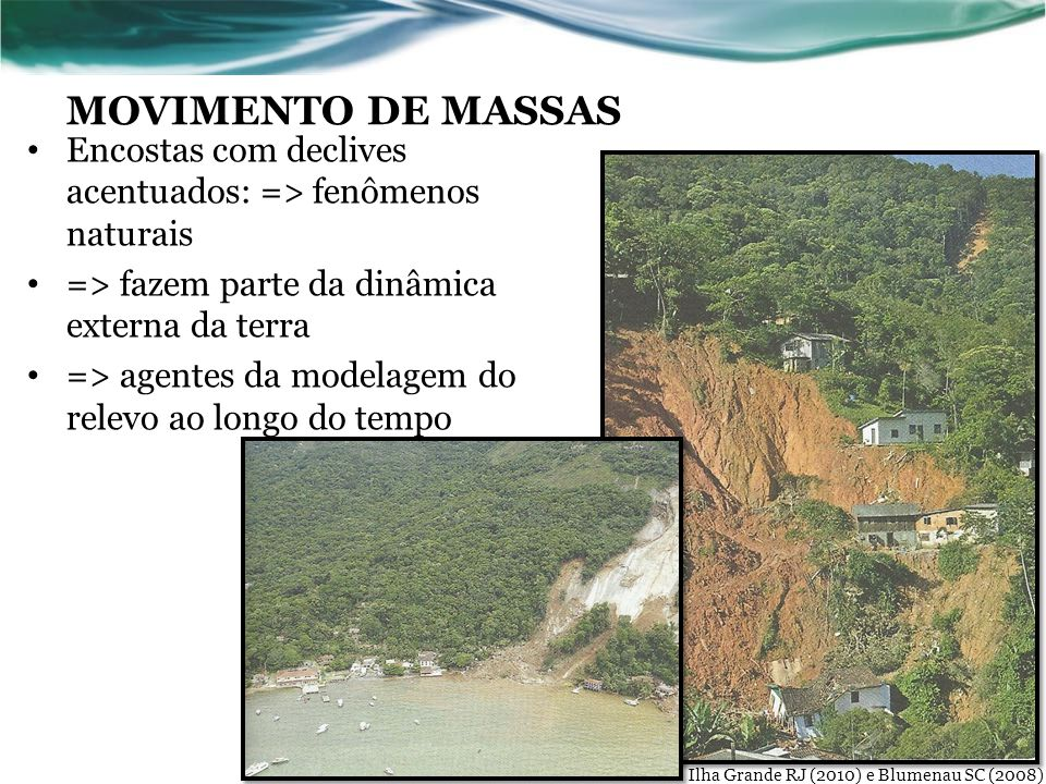 MOVIMENTO DE MASSAS Encostas com declives acentuados: => fenômenos naturais. => fazem parte da dinâmica externa da terra.