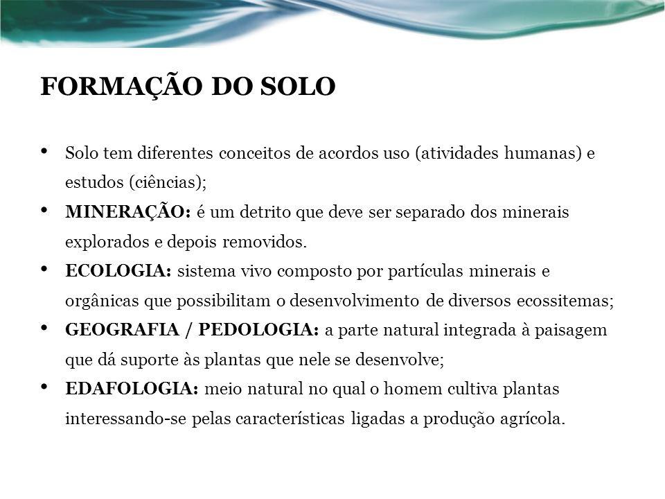 FORMAÇÃO DO SOLO Solo tem diferentes conceitos de acordos uso (atividades humanas) e estudos (ciências);