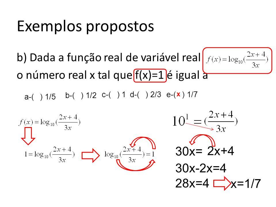 Exemplos propostos b) Dada a função real de variável real o número real x tal que f(x)=1 é igual a