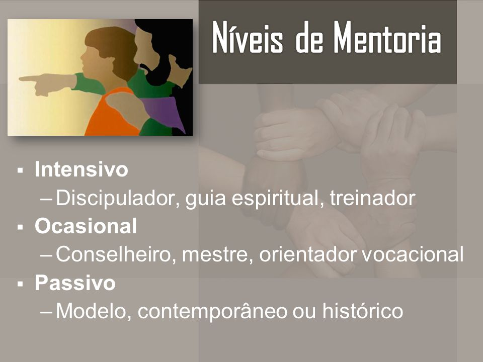 Níveis de Mentoria Intensivo Discipulador, guia espiritual, treinador