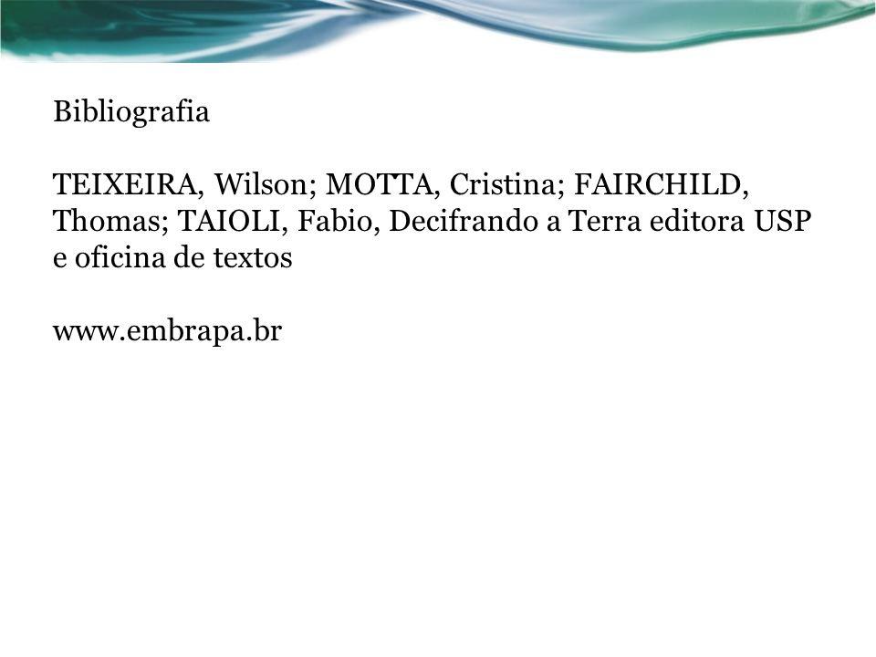 Bibliografia TEIXEIRA, Wilson; MOTTA, Cristina; FAIRCHILD, Thomas; TAIOLI, Fabio, Decifrando a Terra editora USP e oficina de textos www.embrapa.br