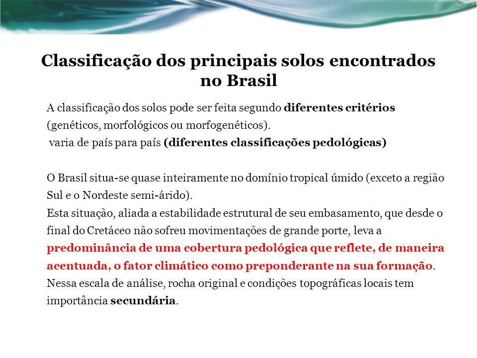 Classificação dos principais solos encontrados no Brasil