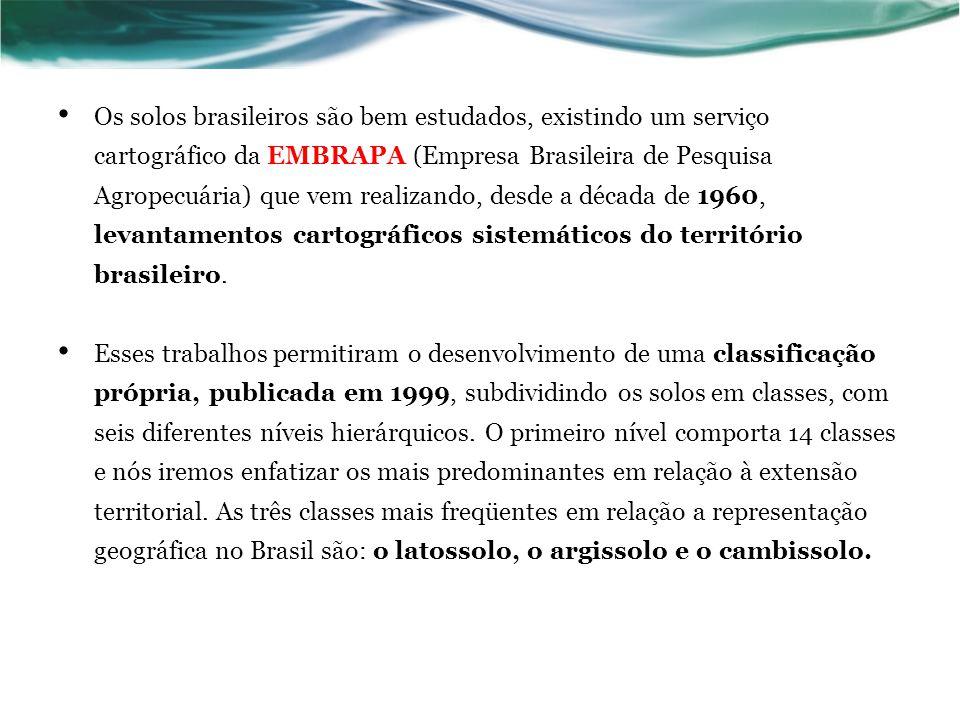 Os solos brasileiros são bem estudados, existindo um serviço cartográfico da EMBRAPA (Empresa Brasileira de Pesquisa Agropecuária) que vem realizando, desde a década de 1960, levantamentos cartográficos sistemáticos do território brasileiro.