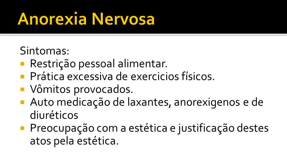 Anorexia Nervosa Sintomas: Restrição pessoal alimentar.