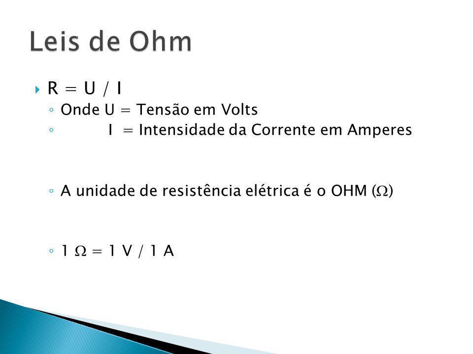 Leis de Ohm R = U / I Onde U = Tensão em Volts