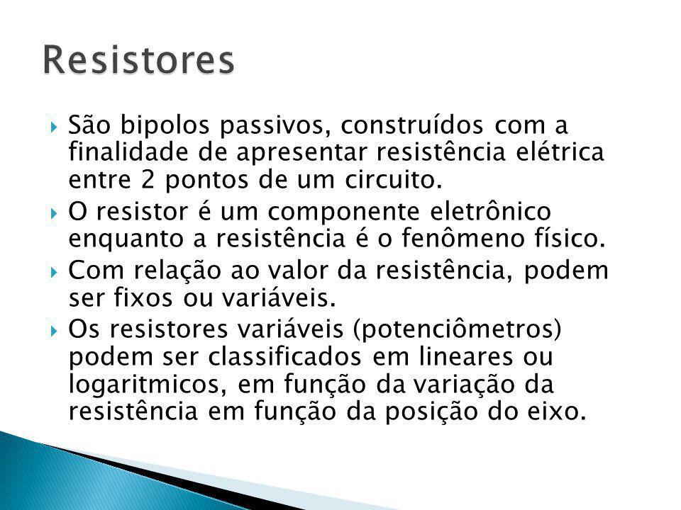 Resistores São bipolos passivos, construídos com a finalidade de apresentar resistência elétrica entre 2 pontos de um circuito.