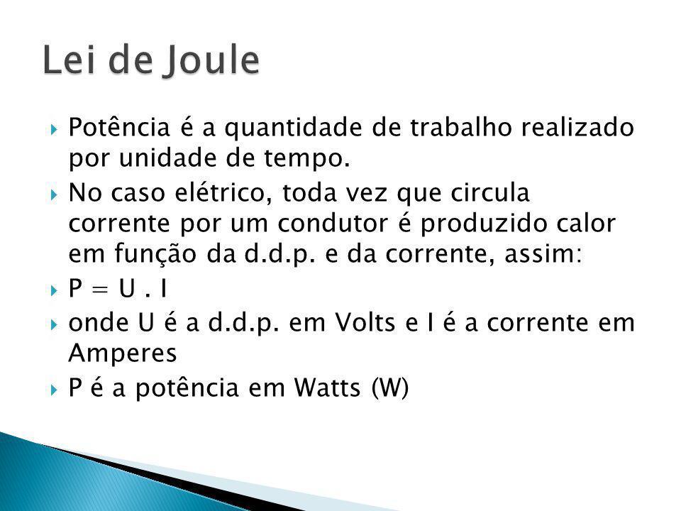 Lei de Joule Potência é a quantidade de trabalho realizado por unidade de tempo.