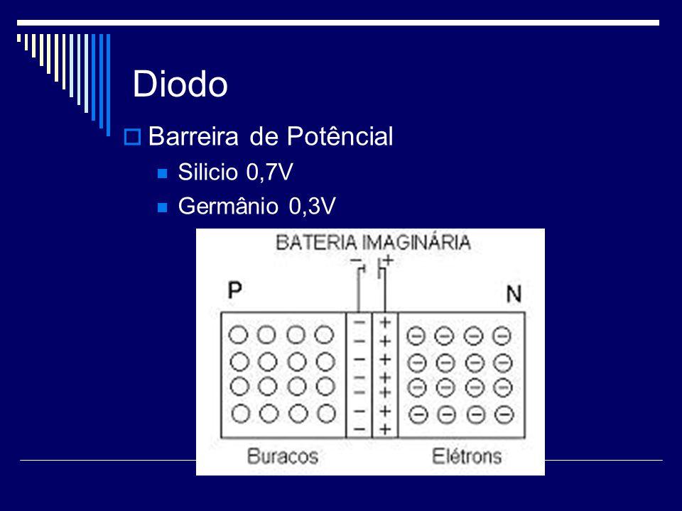 Diodo Barreira de Potêncial Silicio 0,7V Germânio 0,3V