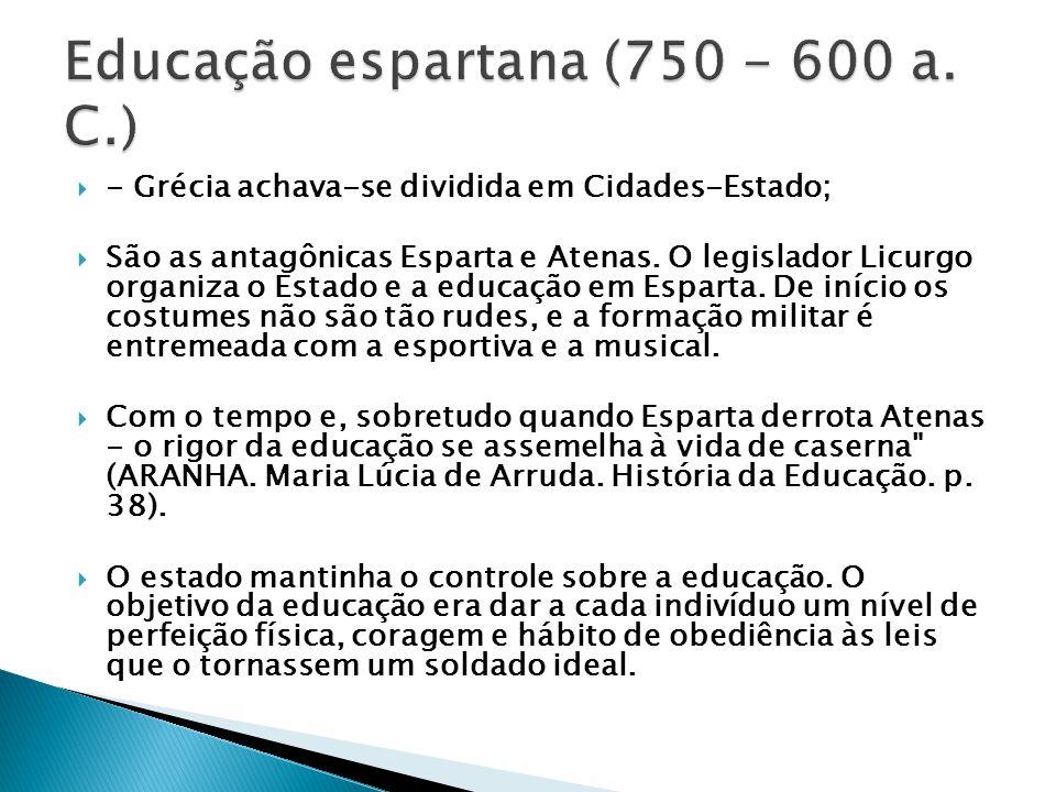 Educação espartana (750 - 600 a. C.)