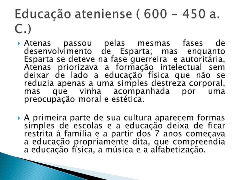 Educação ateniense ( 600 - 450 a. C.)