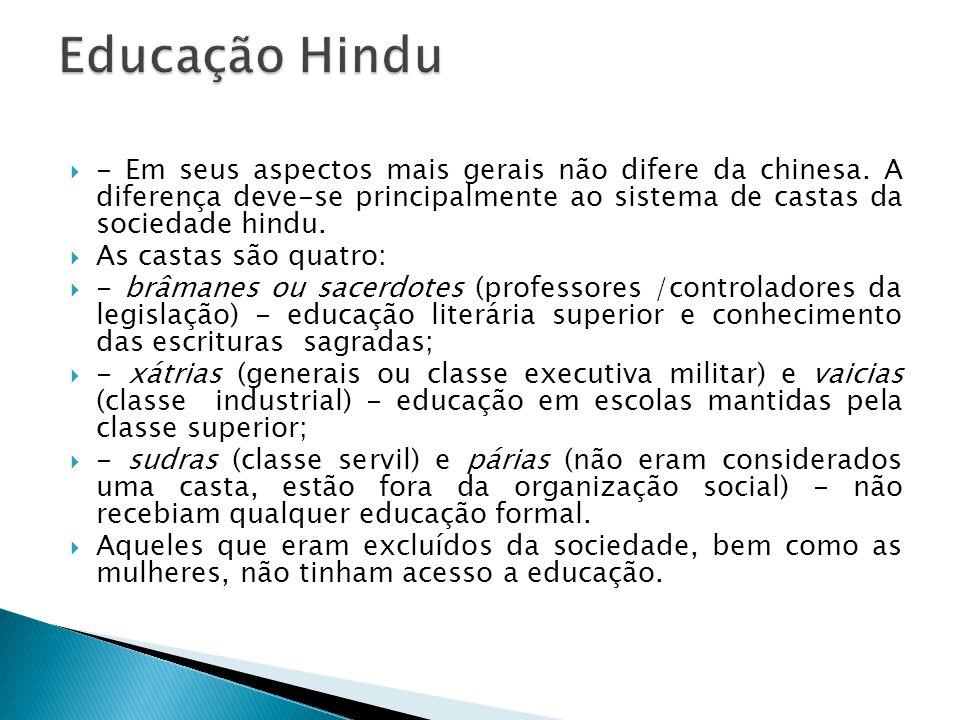 Educação Hindu - Em seus aspectos mais gerais não difere da chinesa. A diferença deve-se principalmente ao sistema de castas da sociedade hindu.