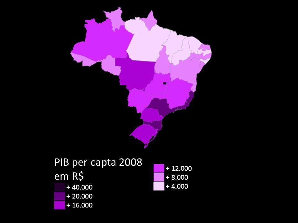 PIB per capta 2008 em R$ ██ + 12.000 ██ + 8.000 ██ + 40.000 ██ + 4.000