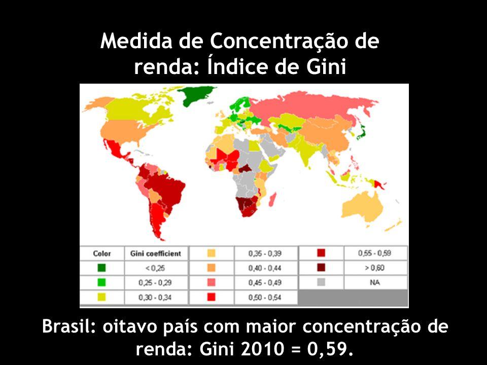 Brasil: oitavo país com maior concentração de renda: Gini 2010 = 0,59.
