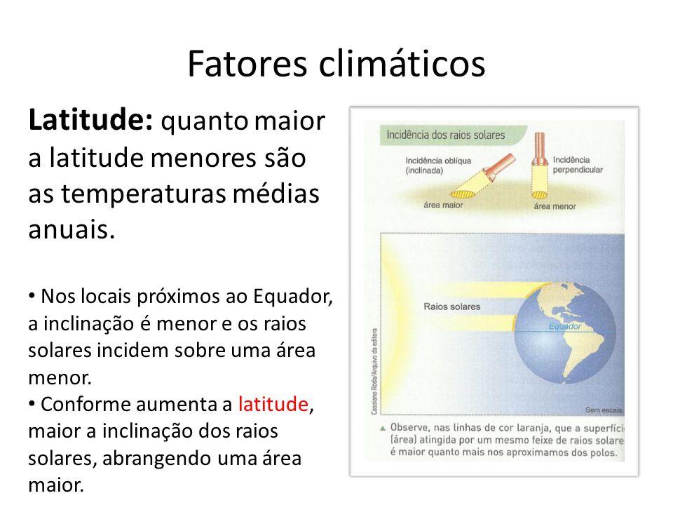 Fatores climáticos Latitude: quanto maior a latitude menores são as temperaturas médias anuais.