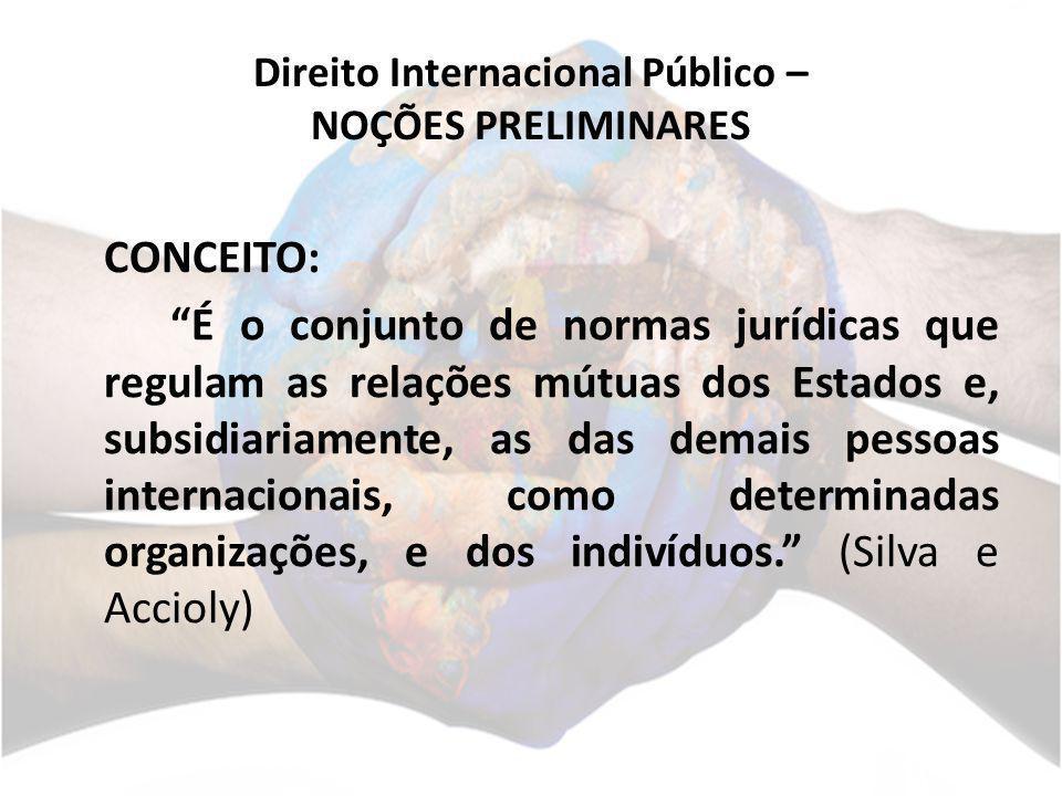 Direito Internacional Público – NOÇÕES PRELIMINARES